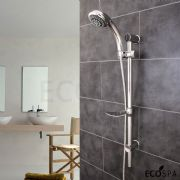 EcoSpa Swift 6 Mode Chrome Shower Kit with Soap Dish and Adjustable Riser Rail